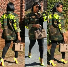 Yellow Letter Camouflage Patchwork Jacket – Pretty N Pink Hair & Army Jacket Outfits, Camoflauge Jacket Outfit, Camo Dress, Army Fatigue Jacket, Stylish Outfits, Cool Outfits, Modest Outfits, Toya Wright, Camo Fashion