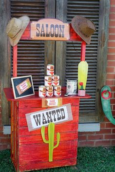 Saloon Stand from a Wild West Cowboy Party on Kara's Party Ideas | KarasPartyIdeas.com (17)