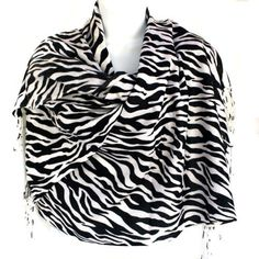 Zebra Animal Print Black Gray Pashmina Shawl Scarf Stole Wrap Soft & Warm by silver fever. $9.99. Perfect wrap for a cold evening or a fashion statement scarf, our Animal Print Pashmina Shawl Scarf Stole is made of cashmere blended with silk. Animal Print Pashmina Shawl Scarf Stole is wrinkle free, soft ,  hand-weaved,  light yet worm.  Easy - pack into your bag , and pull out when need it. You can wear it as a scarf over you coat, sweater or suit, a luxurious shaw...