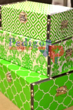 Vibrant green storage boxes! There's no way anyone could miss these!