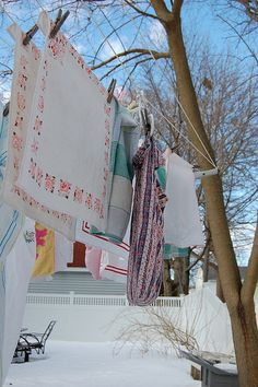 chilly laundry day... I love hanging laundry during the snowy days of winter.  The laundry smells sooooo good.
