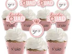 'Bride squad' in rose gold and white type with wedding ring detail and 'She said yes' inside wedding ring Dog Cake Topper, Custom Cake Toppers, Custom Cakes, Wedding Cake Toppers, Baseball Wedding Cakes, Wood Cake, Acrylic Cake Topper, Rustic Cake, Colorful Cakes