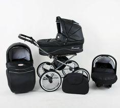 Retro kinderwagen combi ROMANTIC ECO - zwart met zilveren stippen