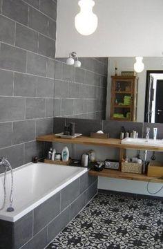 Grey bathroom - love the mosaic tiles on the floor