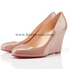 Christian Louboutin Ron Ron Zeppa 85mm Patent Leather Wedges Nude Australia Outlet CLF20140009F