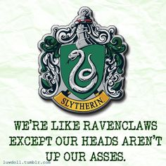 Slytherin House Pride. Plus we are like Gryffindors but we aren't stupid/reckless :D I love Slytherin