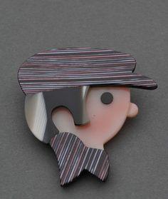 Lea Stein Chauffer Brooch | eBay