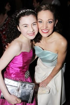 Lilla Crawford poses with Cinderella star, Laura Osnes, at the 2013 Broadway.com Audience Choice Awards.