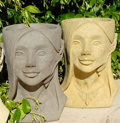 FAIRY HEAD PLANTER  Stone Container  Original by dsgardenshop, $129.00