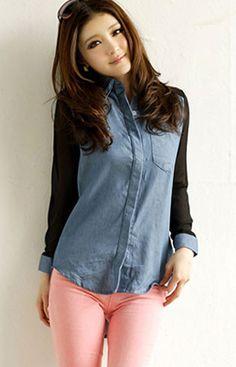 Chiffon Jeans Blouse - $13.03 on @ClozetteCo