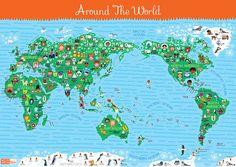 Kissy Kissy Kids World Map via Design is Yay
