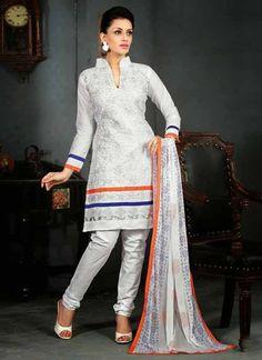 Appealing Off White Cotton Based #Salwar #Suit With Zari Work #churidarsuits #ethnicwear #womenapparel #womenfashion