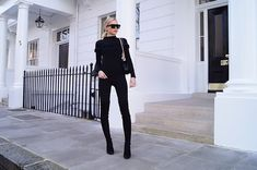 Get this look: http://lb.nu/look/8175801  More looks by Hollie Hobin: http://lb.nu/holliehobin  Items in this look:  Celine Sunglasses, Topshop Jumper, Zara Leggings, Stuart Weitzman Boots, Chanel Bag   #chic #classic #minimal