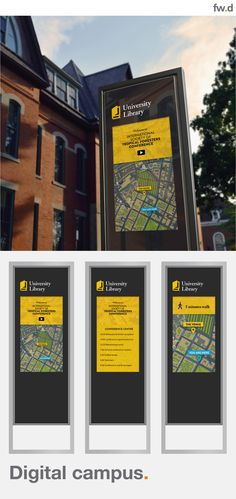 fwdesign provides highly accessible and versatile tools to help deliver powerful integrated wayfinding, interpretive and promotional information resources. We will help you become a Smart Destination whatever your environment – town centre, university campus, transport provider or retail development. #digital wayfinding, #digital campus, #smart campus,  #digital city Digital Kiosk, Front End Design, Sign Solutions, Sustainable Transport, Library University, Simple Website, Roof Styles, Wayfinding Signage, Local Attractions