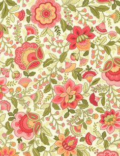 Last Piece - Emma Jacobean Floral in Coral - Timeless Treasures Fabric - 1 yard Cotton Quilting/Apparel Weight inches wide Motifs Textiles, Textile Prints, Textile Patterns, Textile Design, Flower Patterns, Fabric Design, Print Patterns, Pattern Design, Floral Prints