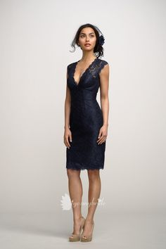navy v neck lace knee length bridesmaid dress with cap sleeves