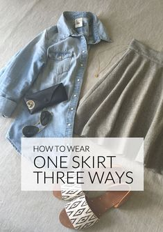 One skirt, but three ways to wear it. A simple skirt is essential to your wardrobe, but one skirt is not enough for casual, professional, and party occasions. Or is it? Pair your skirt with a chambray top for a casual look that is suitable for the office. For the big meeting coming up, you can top the skirt with a button-down and a blazer. Think simple and don a cotton blouse with your skirt; it is ideal for warm, breezy days. For more fashion tips, check out eBay's guide to dressing up a sk...
