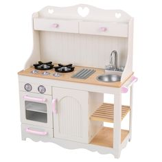 White Painted Kids Play Kitchen Has Soft Brown Surface And Shelf Combination With Sink Modern Stove