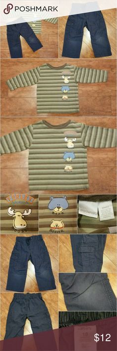Forest Animals Boys 2 pc Winter Play Outfit Super cute shirt is Greens and Brown stripes with Adorable details in the forest animals Moose, Bear and Beaver with some embroidery detail brand miniwear. Navy Blue Cargo Pants comfortable perfect fit elastic waist some wear/fading in knee area but still in great play condition price reflects wear. (Consider bundling to get more value out of the cost of Shipping and feel free to make offers on bundles) Thank you for visiting my closet!! SMOKE FREE…