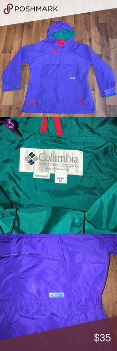 Vintage XL Columbia Pullover Windbreaker Purple Excellent condition Columbia Jackets & Coats Windbreakers