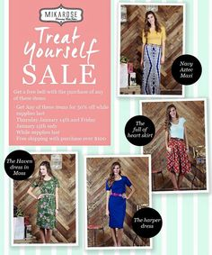 Treat Yourself SALE! free belt with any of these great items 50% off!
