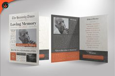 Newspaper Funeral Program Template by SeraphimChris available for $12.00 at DesignBundles.net