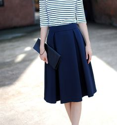 Retro Style Plicated Ruffles Bouffant Cotton Blend Solid Color Skirt For Women (NAVY,M) | Sammydress.com
