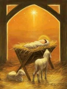 watercolor of baby in manger - Bing images