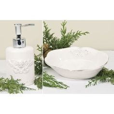 Set dispenser sapone + portasapone in ceramica con angelo decorato