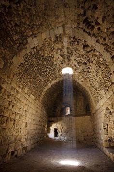 Corridor illuminatined by sunlight at Karak Castle