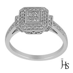 Women's 14K White Gold 0.56Cts 46 Round & Princess Cut Diamond Ring - JHS #WomensClassicEngagementRingJHS #Engagement