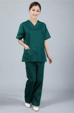 20e8dff1c64 New premium Women's V neck Nurse Uniform SET Hospital Medical Scrub Set  Clothes Short Sleeve Surgical Scrubs