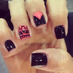 Black nails with coral accents & tribal print