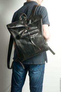 Купить Рюкзак Скрутка мужской из натуральной кожи черный сумка черная 130416 - черный, рюкзак