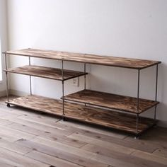 "wood iron shelf ""low type L"" Industrial Design Furniture, Furniture Design, Wood Storage Box, Diy Tv Stand, Iron Shelf, Cafe Interior Design, Iron Furniture, Rack Design, Wood And Metal"