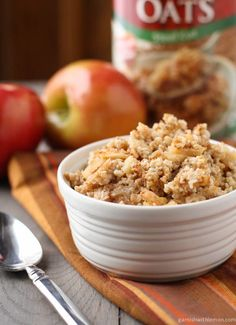 Baked Steel Cut Oatmeal with Apples & Cinnamon [Garnish with Lemon]