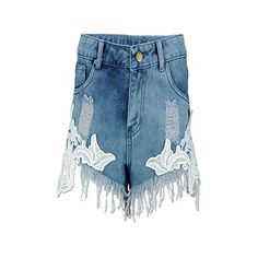 efdb34386d5 Sexy Lace Stitching Denim Shorts Women Europe Summer Fashion Vintage Tassel  Hot Shorts Plus Size Ripped Jeans Woman Light Blue