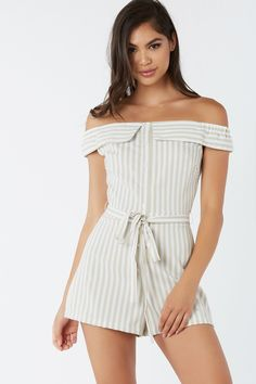 870049bee886 Chic off shoulder romper with faux button detailing down the front. Stripe  patterns throughout with waist tie detailing.