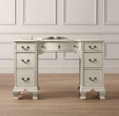 "Julienne Desk   Desks & Vanities   Restoration Hardware Baby & Child 18"" deep, $892 , 46 wide, antique ivory"