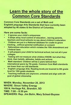 EVERY PARENT in the U.S.  should be scared to death of this. Common Core Information - November 25, 2013 - Brandon, SD ~ South Dakotans Against Common Core