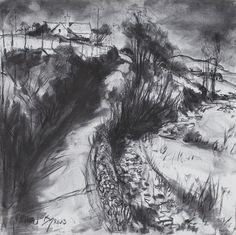 'Country Road', Gerard Byrne, charcoal on canvas, 90x90cm, Dingle, Ireland, www.gerardbyrneartist.com