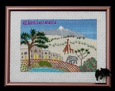 Postcard from Kenya. Needlepoint by Gail Sirna.
