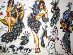 peacock lady vintage old school tattoo flash