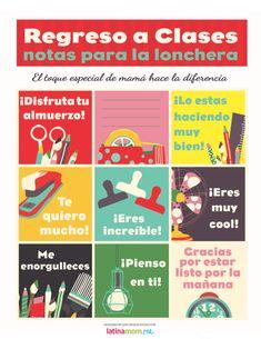 Notas imprimibles para la lonchera para niños bilingües