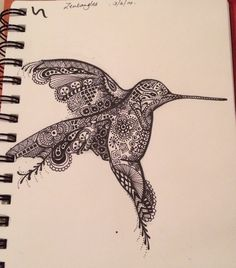 Hummingbird doodle. First attempt at zentangling. MadeByBendy.