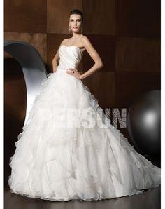 Best Romantic A-line Chapel Train Beading Ruffles Wedding Dress Sale at Persun.ca