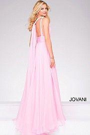 Ivory long sleeveless chiffon prom dress with v neckline and open back.