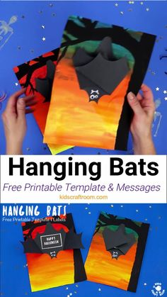 This Hanging Bat Craft for kids is so fun. Open the bat's wings to reveal a spooky message! Such a cool Halloween craft for kids. (Free printable bat template Fun Halloween Games, Halloween Crafts For Kids, Easy Crafts For Kids, Halloween Cards, Art For Kids, Creative Activities For Kids, Creative Arts And Crafts, Creative Kids, Bat Template