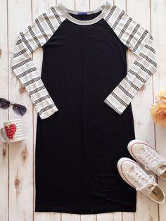 Stripe Sleeve Raglan Dress