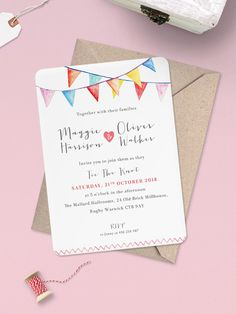 Watercolour Bunting Wedding Invitation  by PaperCharmStore on Etsy